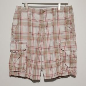 Old Navy Mens Plaid Cotton Cargo Shorts